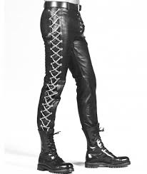 along each leg additional grommets runs from the waist to the ankle and are threaded with criss crossing silver metal chains mens tight leather pants have