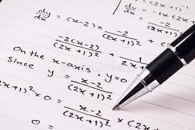 mathematics or equations close up homework solving mathematical problem stock image