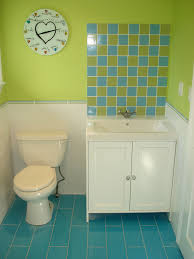 ... light green colored bathrooms