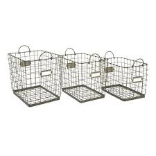 ... Set of 3 Metal Wire with Handles Decorative Storage Baskets