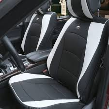 car suv truck pu leather seat cushion covers front bucket seats black white 0