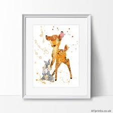 details about bambi thumper print poster watercolour framed canvas wall art disney gift