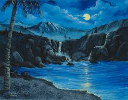 landscape painting moonlight and waterfalls by darice machel mcguire