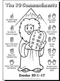 sundayschool printables 10 commandments color sheet pinteres
