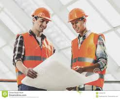 Two Industrial Engineers Works With Blueprint Stock Image Image