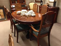 Kitchener Waterloo Furniture Strathroy Double Pedestal Dining Table And 6 Cane Back Chairs