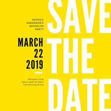 Yellow Black Modern Bold Bachelor Save The Date Invitation