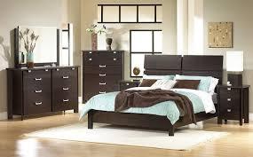 Simple Elegant Bedroom Blue Bedding Set On Black Wooden Bed Added By Black Wooden