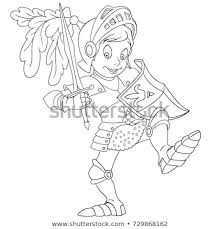 coloring page of cartoon knight with shield and sword coloring book design for kids and
