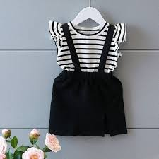 <b>2PCS Girl</b> Outfit Striped Top Suspender Skirt Clothes Set | Shopee ...