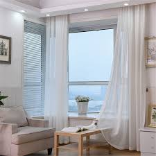 White Living Room Curtains Linen Curtains Customized Multicolor Thicken Window Treatments