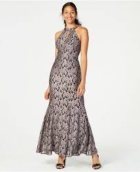 Glitter Lace Keyhole Gown