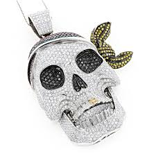 14k white gold pink yellow black diamond pirate skull pendant for men 17ct wh
