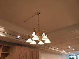 chandelier and track light install