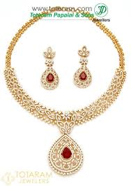 18k gold diamond necklace drop earrings set with ruby onyx stones 235