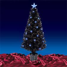 6ft Fibre Optic Christmas Tree With Stars  Christmas Lights Black Fiber Optic Christmas Tree