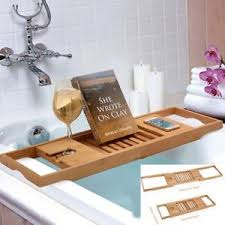 Image is loading 10x-Bathtub-Caddy-Bamboo-Bath-Tub-Rack-Tray-