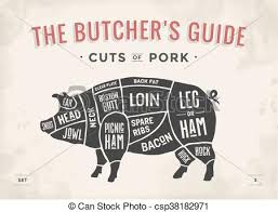 Hog Meat Cuts Chart Cut Of Meat Set Poster Butcher Diagram Scheme And Guide Pork Vintage Typographic Hand Drawn Vector Illustration