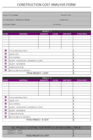 Sample Project Analysis Construction Cost Analysis Form Format Samples Word Document Download 7