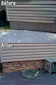 faux stone trailer skirting can be used on homes with concrete foundations such as the one displayed here nadine faux stone concrete and
