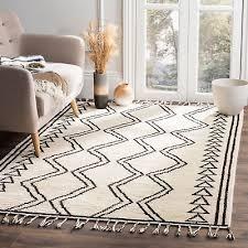 safavieh kenya hand knotted ivory black wool area rug 6 x 9