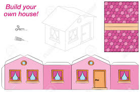 House Template Sweet Pink Comic Cottage Cut Out Fold And