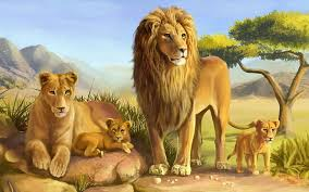 lion lioness and two lion cubs