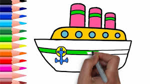 drawing water transportation car for kids simple coloring book for children
