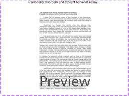personality disorders and deviant behavior essay research paper  personality disorders and deviant behavior essay journal of personality disorders personality disorder and antisocial deviance