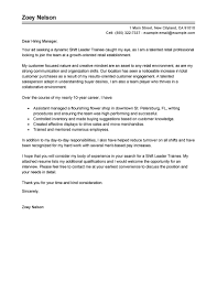 Best Shift Leader Trainee Cover Letter Examples Livecareer