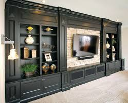built in entertainment center white with exposed brick suburban es fireplace designs