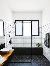 bathroom white subway tile with dark floor. Example Of A Mid-sized 1950s 3/4 White Tile And Subway Ceramic Bathroom With Dark Floor S