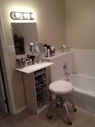 My own DIY makeup vanity, using inexpensive melamine shelving. Fits in a  very small