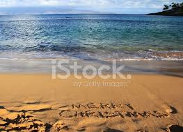 Merry Christmas Written on Maui Hawaii Resort Hotel Beach Sand ...