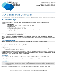 Mla Citation Style By Writing Center Issuu