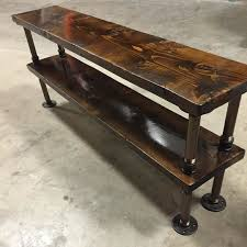 Dark walnut stained pine & custom painted antique bronze pipe tv