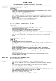 Reporting Analyst Resume Sample Client Reporting Analyst Resume Samples Velvet Jobs 13