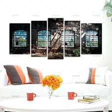 window panel art abandoned industrial interior with bright light ruin plant painting 5 panels wall canvas paintings painted pane