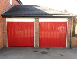 before two single garage doors