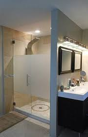 frosted glass bath panels. frameless glass shower doors - frosted for privacy; like the look of center only bath panels