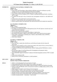 Download Material Coordinator Resume Sample as Image file