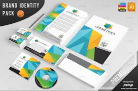 3d Letterhead Design 3d Geometric Polygonal Identity Template Stationery Pack