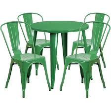 30 round table indoor outdoor cafe metal 5 piece set round table with 4 stack 30 table base