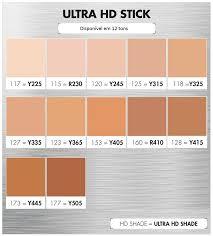 base makeupforever ultra hd stick tabela de conversão de cores tons disponíveis no brasil