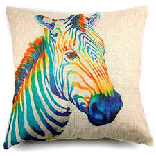colorful throw pillows.  Colorful Phantoscope Premier Print Colorful Zebra Linen Throw Pillow Case Cushion  Cover 18  To Pillows A