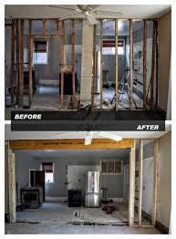 removing load bearing walls beam before and after