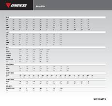 Uk Glove Size Conversion Chart Dainese Sizing Charts Motorcycle Stuff