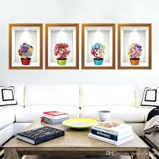 framed wall es potted flowers fake frame wall stickers home decor creative fresh flowers wall mural