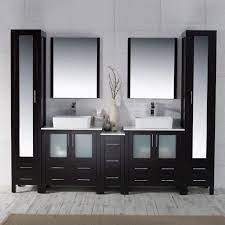 Blossom Sydney 102 Vanity Set With Vessel Sinks And Mirror Linen Cabinet Espresso