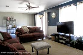 Painted Living Rooms Limited Space Organizing Living Room Update Navy Blue Accent Wall